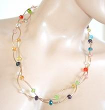 COLLANA LUNGA donna ORO girocollo cristalli multicolore collier elegante cerimonia A70