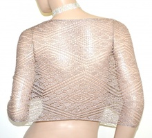 STOLA ORO ROSA coprispalle scialle filo donna maxi foulard a rete traforato A70