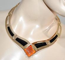 COLLANA ORO NERA donna pietra ambra girocollo collarino rigida collier colar G5