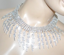 COLLANA girocollo argento donna collarino strass cristalli fili brillantini G38