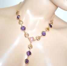 COLLANA oro dorata donna girocollo pietre rosa viola lilla glicine collier collar GP9