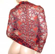 STOLA ROSSA BLU pizzo ricamato maxi donna seta coprispalle foulard scialle elegante G65