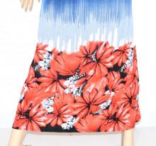 ABITO LUNGO BLU ROSSO copricostume vestito donna estivo mare viscosa cotone fiori 69