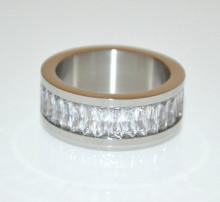 ANELLO ARGENTO donna fedina cristalli veretta strass fascia brillanti zirconi bague ring N99