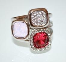 ANELLO argento strass cristalli rossi donna brillantini fedina elegante cerimonia ring A23