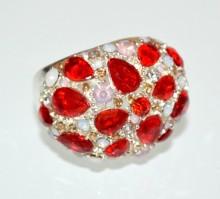 ANELLO donna argento cristalli rossi strass rosa ambra a molla elastico cerimonia BB14