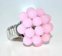 ANELLO donna ARGENTO ROSA fascia strass elastica a molla elegante idea regalo ring F75