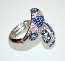 ANELLO donna argento strass blu azzurri fedina elastico a molla elegante anillo BB18