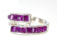 ANELLO donna ARGENTO VIOLA strass fedina elegante cristalli zirconi brillanti ring N5