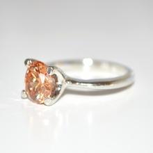 ANELLO donna fedina argento strass cristallo brillante oro\ambra solitario idea regalo E30