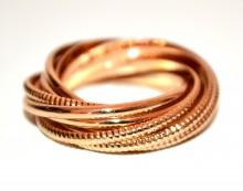 ANELLO ORO dorato donna fedina multi maglie metallo zigrinato gold ring obroč BB4