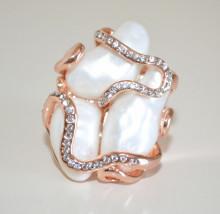 ANELLO ORO ROSA donna pietre perle bianche avorio serpente strass elegante ring N56