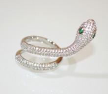 ANELLO SERPENTE donna ARGENTO strass cristalli veretta brillanti regolabile ring D30