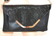 BORSELLO NERO borsa donna PELLE vernice lucida RETTILE bolsa clutch bag sac 1020