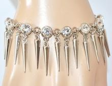 BRACCIALE argento cristalli acciaio donna ciondoli eleganti da cerimonia festa Z23