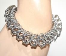 BRACCIALE argento donna maglia anelli lucidi intrecciati elegante cerimonia GP14