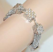 BRACCIALE ARGENTO donna multi fili charms ciondoli strass elegante bracelet N46