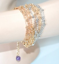 BRACCIALE argento oro dorato donna multi fili catena elegante bracelet GP22