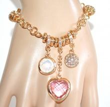 BRACCIALE CIONDOLI donna oro dorato cuore rosa cristalli anelli strass A92
