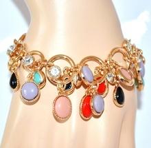 BRACCIALE CIONDOLI donna oro dorato strass pietre rosse rosa lilla glicine turchese nero catena anelli V10