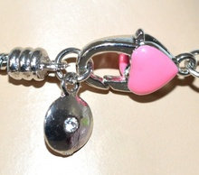 BRACCIALE donna argento CIONDOLI smaltato ROSA brillantini STRASS bracelet 5X