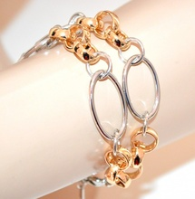 BRACCIALE donna argento oro dorato catena anelli elegante cerimonia bracelet G56