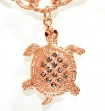 BRACCIALE donna ORO dorato CIONDOLI TARTARUGHE charms catena anelli strass bracelet 500