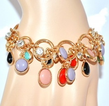 BRACCIALE donna oro dorato con ciondoli pietre strass\cristalli maglia anelli elegante cerimonia 64