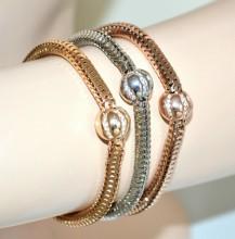 BRACCIALE donna oro rosa argento dorato tris bracciali ciondoli sfera strass BB9