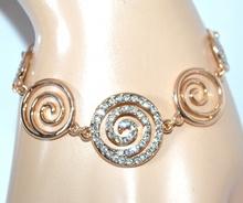 BRACCIALE donna ORO STRASS ciondoli braccialetto elegante bracelet idea regalo F140
