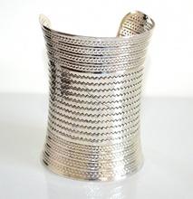 BRACCIALE donna rigido argento nero zigrinato schiava etnico sexy bracelet A26