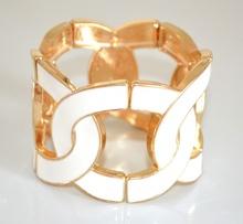 BRACCIALE ORO donna BIANCO rigido elastico schiava dorato bracelet pulsera 635