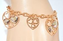 BRACCIALE oro donna ciondoli cuore argento elegante catena anelli idea regalo san valentino E18