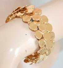 BRACCIALE ORO donna elegante dorato rigido elastico lucido a molla bracelet браслет Z1