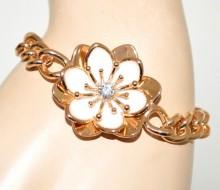 BRACCIALE oro dorato bianco donna ciondolo fiore smaltato catena anelli strass BB32