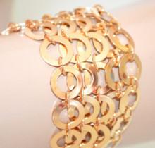 BRACCIALE ORO dorato donna anelli ciondoli multi cerchi elegante bigiotteria metallo N10