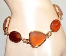 BRACCIALE PIETRE ambra bronzo donna oro dorato ciondoli ovali catena anelli bracelet N90