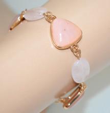 BRACCIALE PIETRE ROSA CIPRIA donna oro dorato ciondoli ovali catena anelli bracelet N90