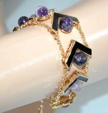 BRACCIALE PIETRE VIOLA lilla glicine donna oro dorato nero elegante bracelet G28