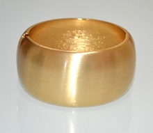 BRACCIALE RIGIDO oro dorato satinato donna a schiava ovale metallo party A39
