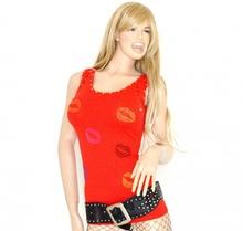 CANOTTA donna top maglietta estiva maglia colorata camiseta borchie chiodini rosso 27