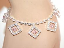CAVIGLIERA donna argento strass cristalli rosa cipria ciondoli brillantini anklet F30
