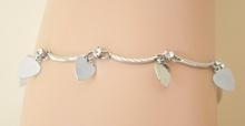 Cavigliera donna estive argento con strass\cristalli bianchi e ciondoli a cuore