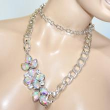 CINTURA GIOIELLO donna argento strass cristalli boreali catena anelli belt BB33