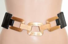 CINTURA NERA ORO donna stringivita elastica bustino a molla fibbia anelli dorati schwarzer Gürtel G65