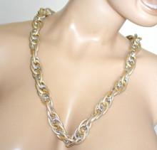 COLLANA ARGENTO ORO donna lunga girocollo catena maglia anelli satinati lisci collier N38