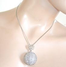 COLLANA CIONDOLO argento donna catenina strass cristalli bigiotteria collier regalo F300