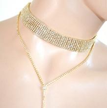 COLLANA collarino ORO STRASS  dorata  girocollo filo cristallo cerimonia A25