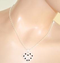 COLLANA donna ciondolo cuore argento nero strass girocollo catenina ragazza regalo F315