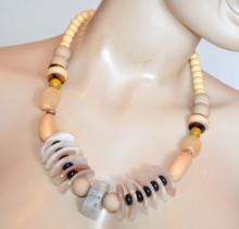 COLLANA donna girocollo pietre ciondoli beige avorio safari etnica tribale S25